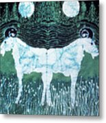 Mirror Image Goats In Moonlight Metal Print by Carol Law Conklin