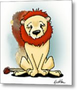 Lion Peaceful Reflection  Metal Print
