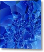 Mirrored Waves In Blue Metal Print