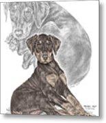 Mischief ... Moi? - Doberman Pinscher Puppy - Color Tinted Metal Print by Kelli Swan