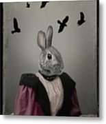 Miss Bunny And Crows Metal Print