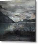 Missezula Lake Sunset Metal Print