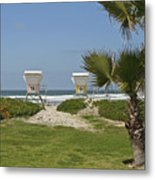 Mission Beach Shelters Metal Print