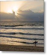 Mission Beach Surfer Metal Print