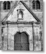 Mission Concepcion Entrance - Bw Metal Print