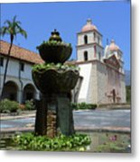 Mission Fountain Metal Print