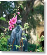 Mission Statue And Flower Metal Print