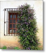 Mission Window With Purple Flowers Metal Print