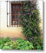 Mission Window With Purple Flowers Vertical Metal Print