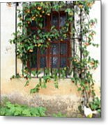 Mission Window With Yellow Flowers Vertical Metal Print