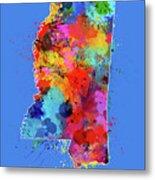 Mississippi Map Color Splatter 3 Metal Print