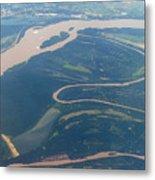Mississippi River Aerial Shot Metal Print
