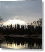 Mississippi River Dawn Clouds Metal Print
