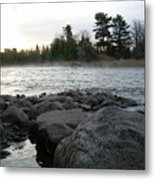 Mississippi River Dawn Over The Rocks Metal Print
