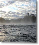 Mississippi River Mist Over Rushing Water Metal Print