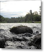 Mississippi River Rocks At Dawn Metal Print