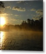 Mississippi River Sunrise Fog Metal Print