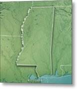 Mississippi State Usa 3d Render Topographic Map Border Metal Print