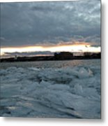 Missouri River Ice Sheet Sunset Metal Print