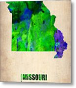 Missouri Watercolor Map Metal Print