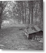 Mist Field And Barn Metal Print