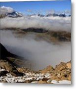 Mist On Ardiden Range Metal Print by Frederic Vigne
