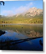 Mist On Pyramid Mountain Metal Print