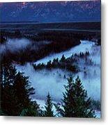 Mist Over Snake River, Sunrise Light Metal Print
