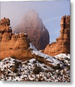 Mist Rising In Arches National Park Metal Print