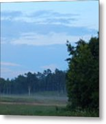 Mist Rolls In And Blue Sky At Sunset Metal Print