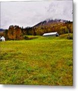 Misty Autumn At The Farm Metal Print