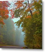 Misty Autumn Road Metal Print