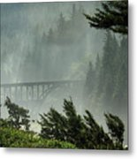 Misty Bridge At Heceta Head Metal Print