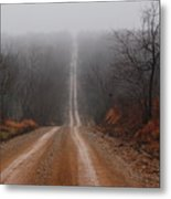 Misty Country Road Metal Print