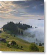 Misty Dawn In The Mountains Metal Print