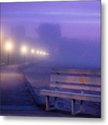 Misty Morning Boardwalk Metal Print