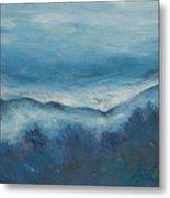 Misty Morning Fog Mount Mansfield Panorama Painting Metal Print