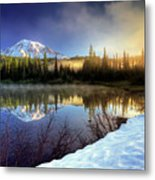 Misty Morning Lake Metal Print