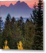 Misty Mountain Sunset Metal Print
