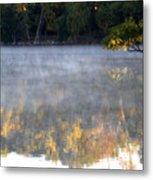 Dark Shoreline Frames Misty Fall Reflections On Jamaica Pond Metal Print