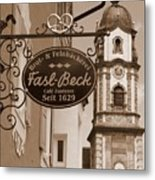 Mittenwald Cafe Sign In Sepia Metal Print