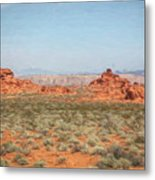 Mix Media Valley Of Fire  Metal Print