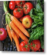 Mix Of Fruits, Vegetables And Berries Metal Print