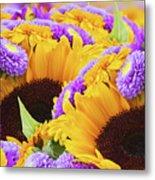 Mixed Autumn Flowers Metal Print