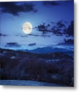 Mixed Forest Near Valley In Mountains  On Hillside At Night Metal Print