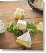Mixed French Cheese Platter With Bread Metal Print