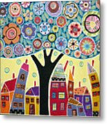 Mixed Media Collage Tree And Houses Metal Print