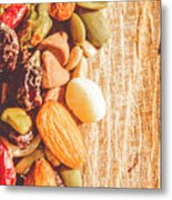 Mixed Nuts On Wooden Background Metal Print