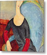 Mme Hebuterne In A Blue Chair Metal Print by Amedeo Modigliani