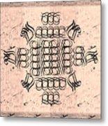 Mmonogram Stripes Lite Mauve Charcoal Metal Print